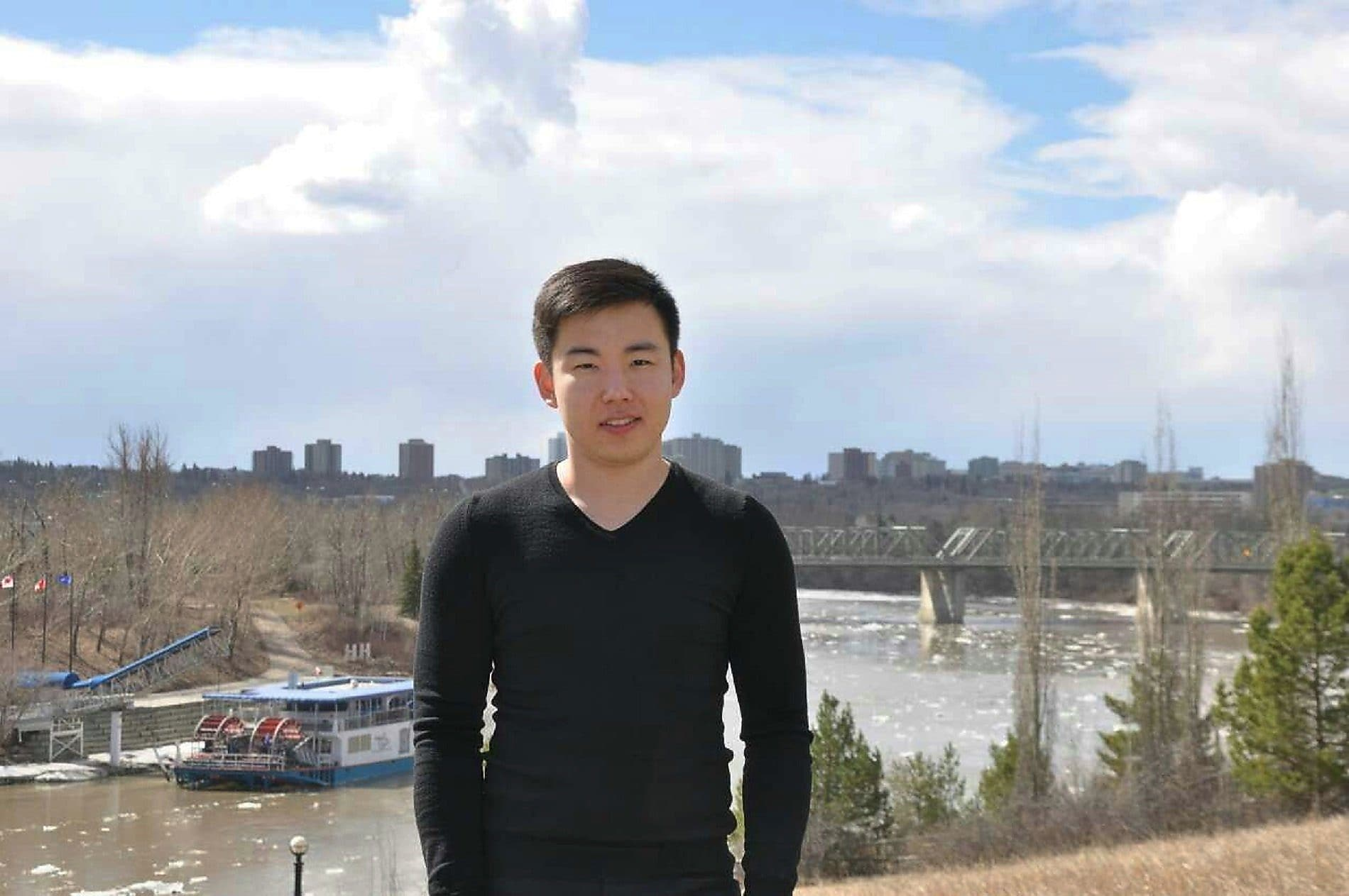 Candid portrait of Eddie Wang taken near the Shell Scotford Refinery