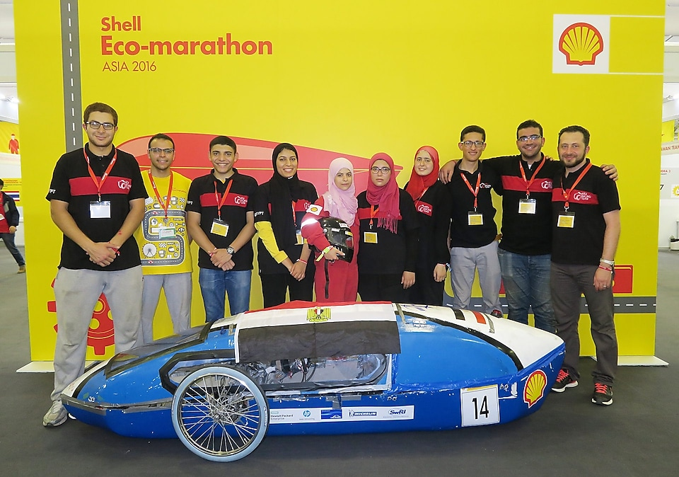he Siraj 2, #14, a gasoline prototype vehicle from ASU Racing Team at the Ain Shams University in Cairo, Egypt, poses for a team portrait during the final day of the Shell Eco-marathon Asia, in Manila, Philippines, Friday, March 4, 2016
