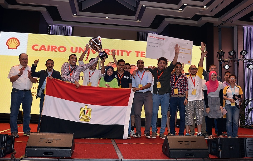 Team CUT Eco-Racing from Cairo University Faculty of Engineering, Egypt, winners of the Communications Award at the Awards Ceremony on the final day of the Shell Eco-marathon Asia 2014 at Luneta Park in Manila on Sunday, March 01, 2015.