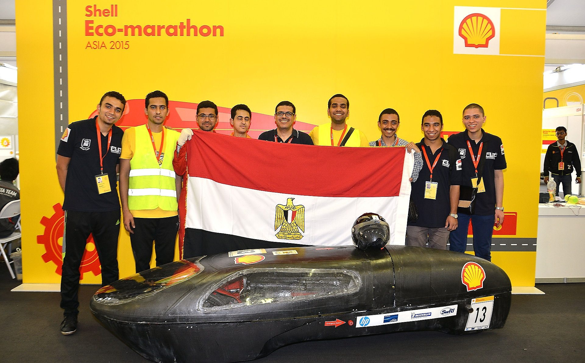The Horus, #13, Prototype, competing for team CUT Eco-Racing from Cairo University Faculty of Engineering , Egypt poses for portrait during day two of the Shell Eco-marathon in Manila, Philippines, Friday, Feb. 27, 2015