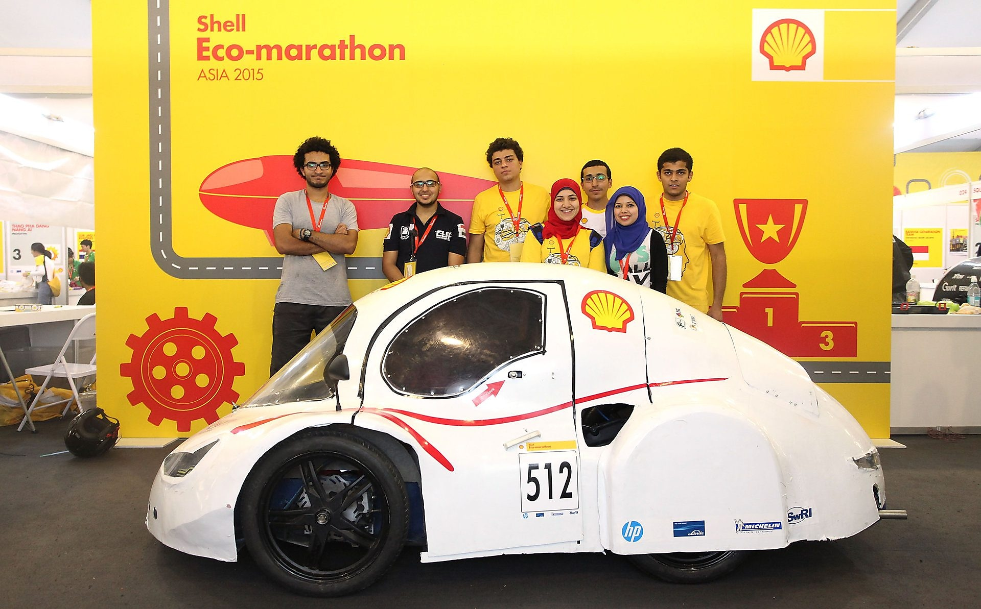 The Anubis, #512, UrbanConcept, competing for team CUT Eco-Racing UC from Cairo University Faculty of Engineering , Egypt poses for portrait during day two of the Shell Eco-marathon in Manila, Philippines, Friday, Feb. 27, 2015.