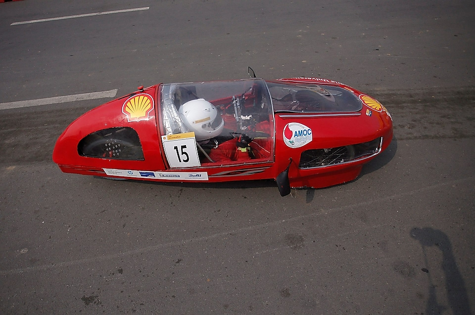 The Normandy 2, #15, a gasoline prototype vehicle from Alexandria University Shell Eco-marathon Team at the Alexandria University Faculty of Engineering in Alexandria, Egypt, on the track during final day of the Shell Eco-marathon Asia, in Manila, Philippines, Sunday, March 6, 2016.