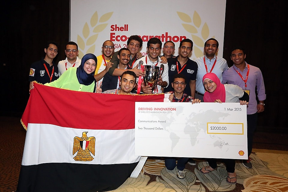 Team CUT Eco-Racing from Cairo University Faculty of Engineering, Egypt, winners of the Communications Award at the Awards Ceremony on the final day of the Shell Eco-marathon Asia 2015 at Luneta Park in Manila on Sunday, March 01, 2015