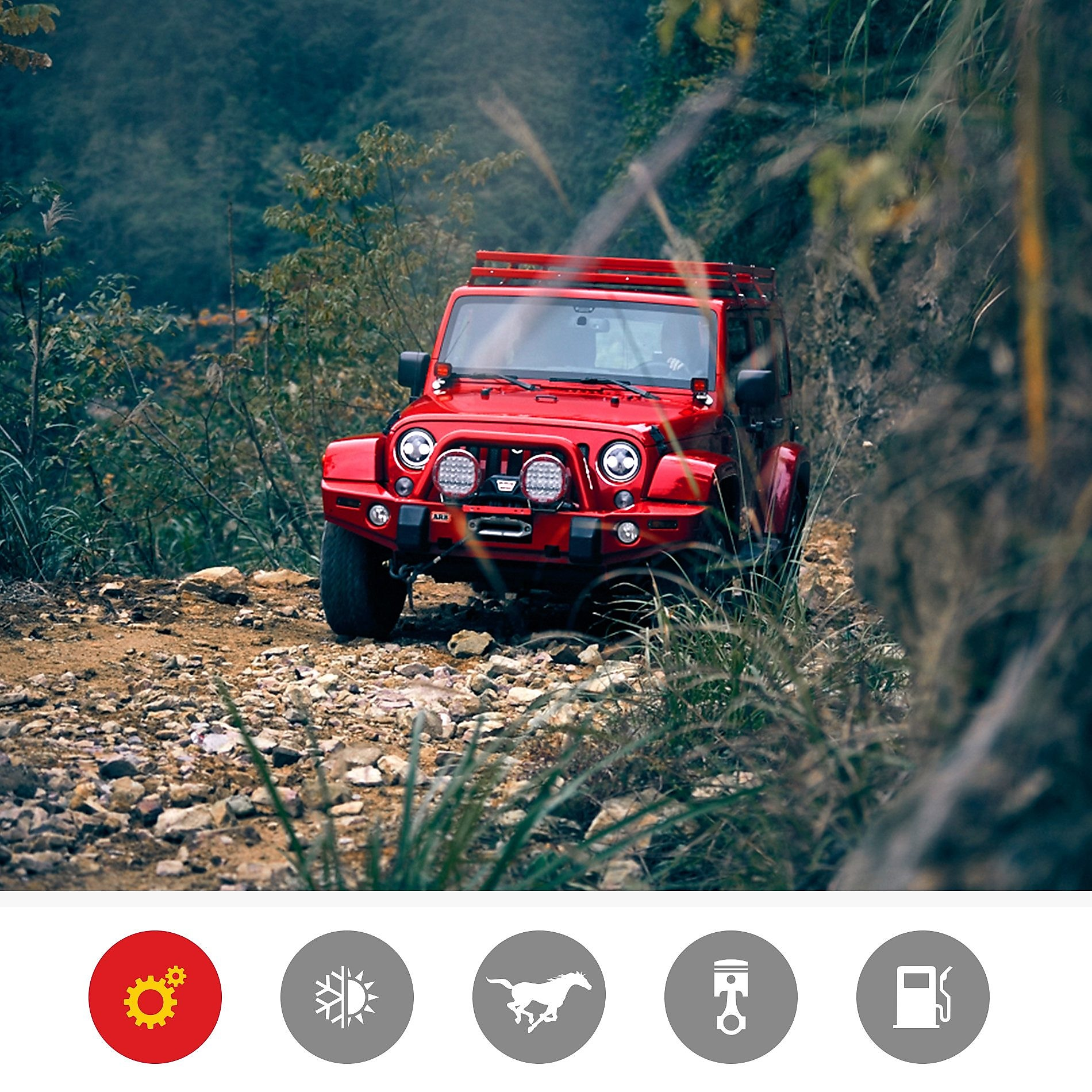 A red jeep on rugged terrain demonstrates the Shell Helix Ultra engine stress and wear protection product benefit