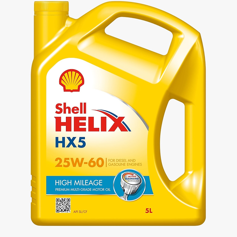 Packshot of Shell Helix HX5 High Mileage 25W-60