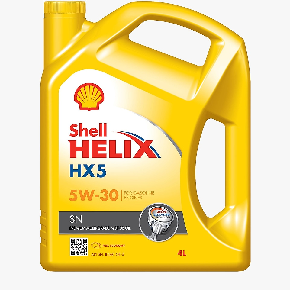 Packshot of Shell Helix HX5 SN 5W-30