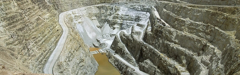 image looking down on an open quarry