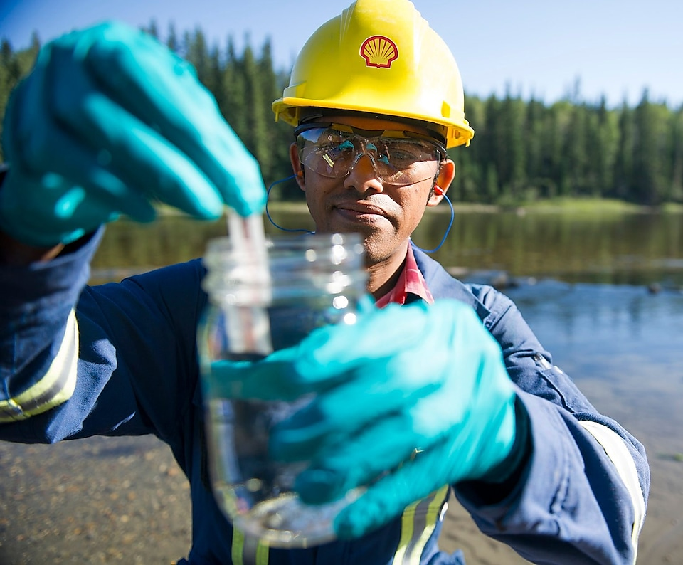 Shell's Environmental Coordinator tests a water sample